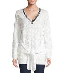 sandro women's emma tie-waist cable-knit sweater - ecru - size 1 (s)