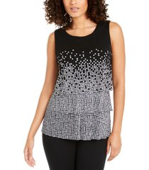 alfani printed layered top, created for macy's