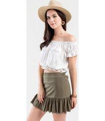 portland ruffle mini skirt - sage