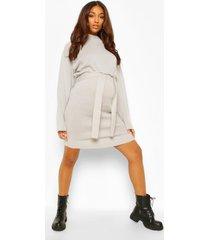 zwangerschaps trui jurk met ceintuur en hoge hals, light grey