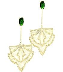 brinco kumbayá joias longo verde