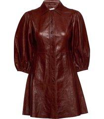 lamb leather korte jurk bruin ganni