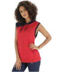 colete com capuz puma a.c.e. s/l hoodie - feminino - vermelho/azul esc