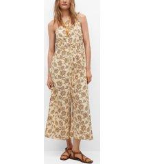 mango women's cotton print jumpsuit