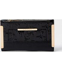 river island womens black ri patent embossed mini foldout purse
