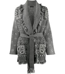 alanui bandana pattern knitted cardigan - grey