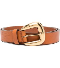 woman brown and gold belt in leather