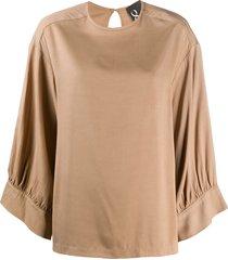 8pm crew neck loose-fit blouse - neutrals