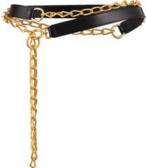 black leather and chain belt