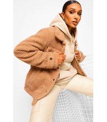 faux fur teddy trucker jas, camel