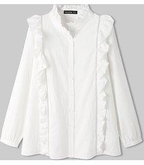 camicetta da donna tinta unita con bottoni a maniche lunghe con colletto alla coreana con volant