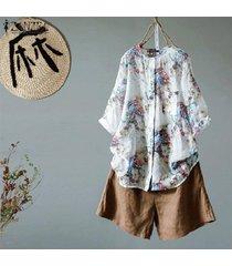 zanzea botones de manga larga de 1/2 para mujer camisa larga tops blusa estampada floral tallas grandes -azul