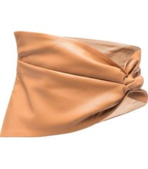 nanushka button-fastening draped belt - brown