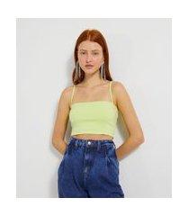 blusa cropped com decote reto e alças finas | blue steel | verde | m