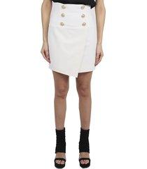 balmain white wrap skirt