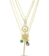 kensie rhinestone charm multi layered yellow gold-tone necklace