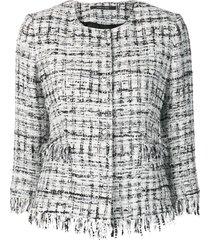 tagliatore frayed edge tweed jacket - white