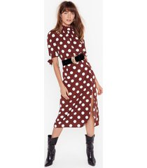 womens sorry is dot enough high-waisted midi skirt - chocolate