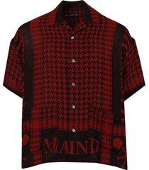 fringe stole short-sleeve shirt, red and black