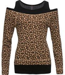 maglia leopardata 2 in 1 (marrone) - rainbow