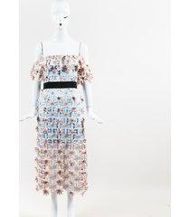 self portrait 3d floral lace off shoulder midi dress pink/multicolor sz: xs