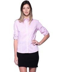 camisa intens manga 7/8 poliamida listrado rosa.