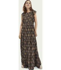 scotch & soda soepelvallende maxi-jurk met geschulpte randen