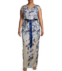 plus floral column gown