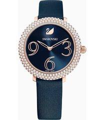 orologio crystal frost, cinturino in pelle, azzurro, pvd oro rosa