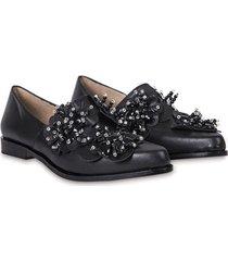 zapato de cuero negro florte girasol