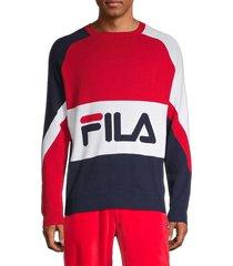 fila men's colorblock logo cotton sweater - red blue combo - size xxl