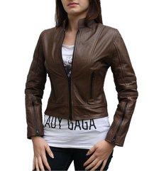 new handmade ladies dark angel fashion leather jacket slim fit