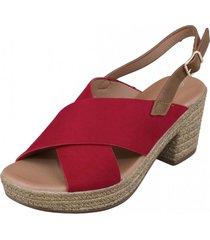 sandalia  bruna rojo weide