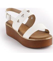 sandalia casual plana tipo confort para dama blanco 932689-328blanco