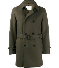 mackintosh fetlar wool short trench coat - green