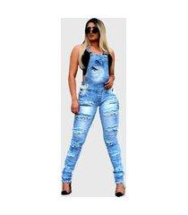macacão jeans jardineira destroyed azul o rei do brás