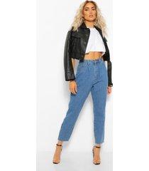 jeans met hoge taille en plooidetail, middenblauw