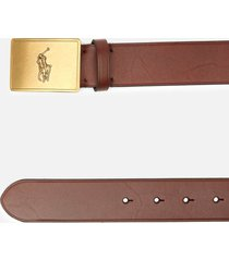 polo ralph lauren men's 36mm plaque vachetta belt - brown - xl/w38