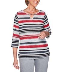 alfred dunner well red melange stripe slit-sleeve knit top