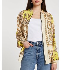 river island womens yellow chain print oversized bomber jacket