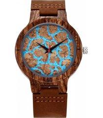reloj madera corcho marrón millam