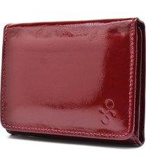carteira de couro menor hendy bag vermelho fechado verniz sem plastico - tricae
