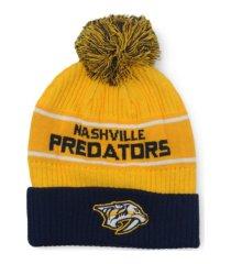 authentic nhl headwear nashville predators 2020 locker room pom knit hat