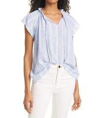 rails raven short sleeve linen blend peasant blouse, size xx-large in alameda stripe at nordstrom
