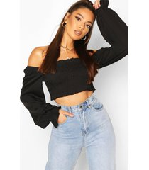 shirred long sleeve off shoulder top, black