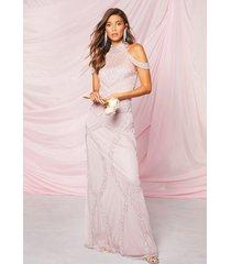 occasion versierde maxi-jurk met blote schouder en handversiering, lila