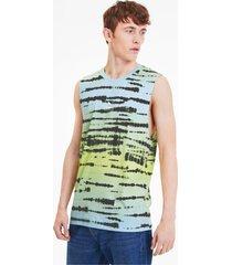tie dye all-over printed tanktop voor heren, grijs/aop, maat s | puma