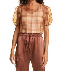 women's cami nyc bethany puff sleeve mesh dot bodysuit, size medium - brown