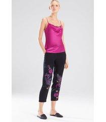 lolita lace peek cami pajamas, women's, purple, 100% silk, size xs, josie natori