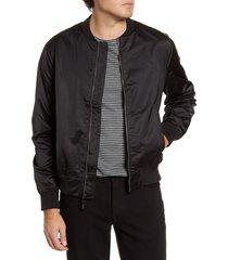 men's bonobos slim fit moto bomber jacket, size large - black